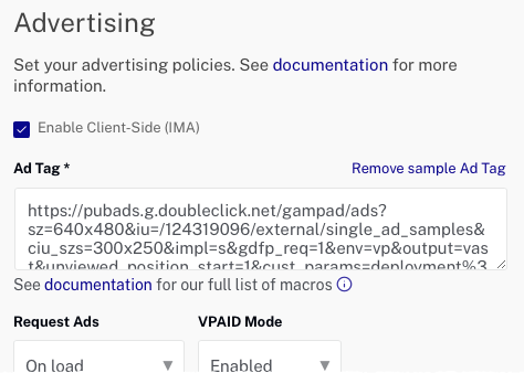 Enable client-side ads